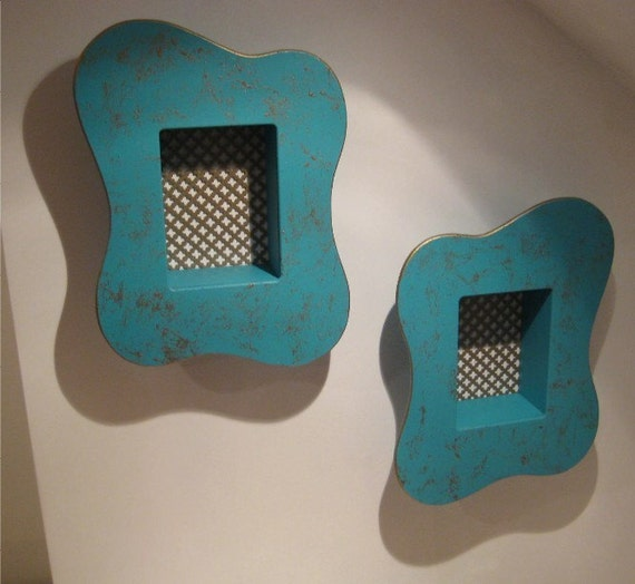 vintage looking 50's style turquoise amoeba pair of atomic shadow boxes