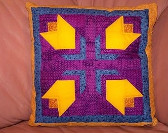 Quilted Tulips Throw Pillow