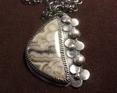 Crazy..... Sterling Silver Mexican Crazy Lace Agate Pendant Necklace.