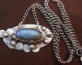 Cute Unique 3 Flower Sterling Silver and Labradorite Pendant Necklace