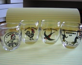 Vintage COMICAL SHOT GLASSES / Set of 4