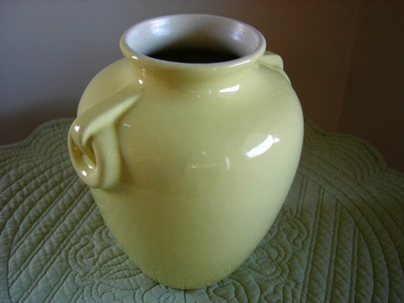 RESERVED - Vintage COORS POTTERY YELLOW VASE Golden Colorado - 1930s / As Is