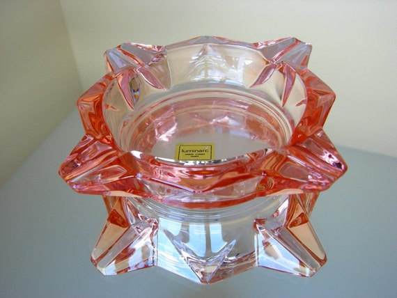 Vintage Luminarc Pink Glass Ashtray Verrerie By Thelogchateau
