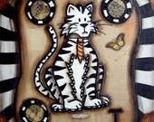 VINTAGE ALPHABET TIGER 8 x 10 FINE ART PRINT by mixed media artist KELLY LISH