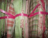 Lime Green..Pink..Rabbits..Fabric Scraps.. Perfect for Baby...thirteen ozs..