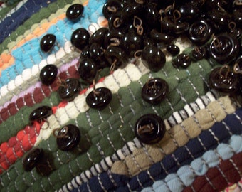 Vintage Jet Black...Jet Buttons...Handmade..Glass..Buttons..Smooth