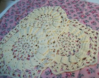 Three Ecru Crochet Doilies....hexagon...six sides..3 pc.