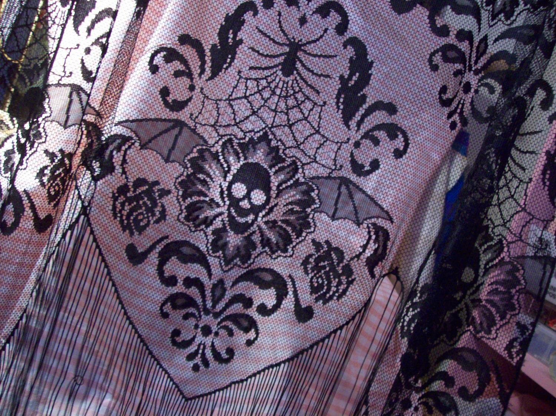 Gothic Black Lace Curtain Panel Skulls Spiders Spider