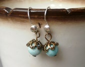 Small amazonite, brass and silver hooks earrings