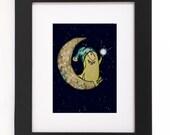 Children Decor, Children Art, 5x7, Monster on the Moon