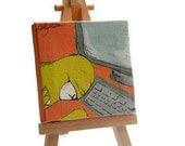 Original Mini Painting, OOAK, Monster Frustrations