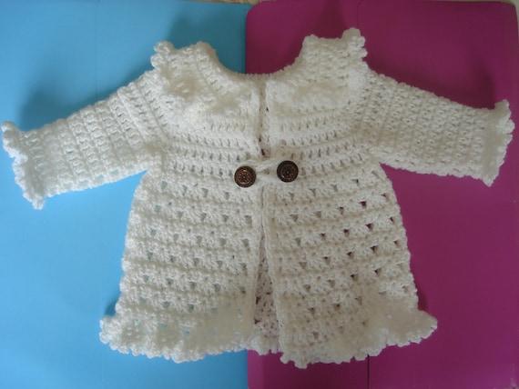 Cardigan Hat Booties Newborn Layette Crochet Pattern PDF file written in US terminology