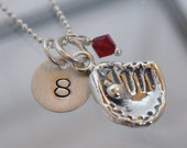 Softball or Baseball Glove and Jersey Number Hand Stamped Sterling Silver Necklace