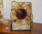 Stained Glass Amber Candle Holder and Suncatcher