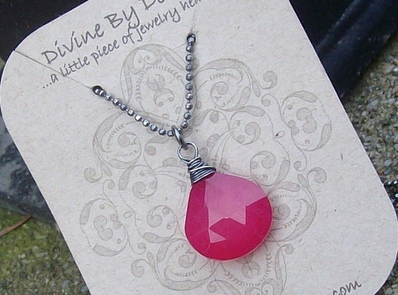 SALE Hot Pink Chalcedony...Oxidized Sterling