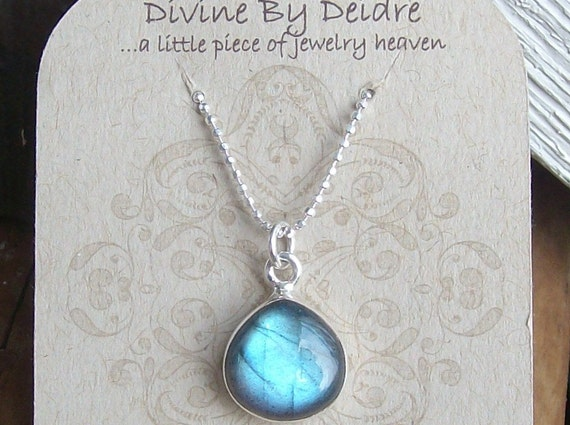 LAST ONE...Blue Fire Labradorite and Sterling Silver Necklace