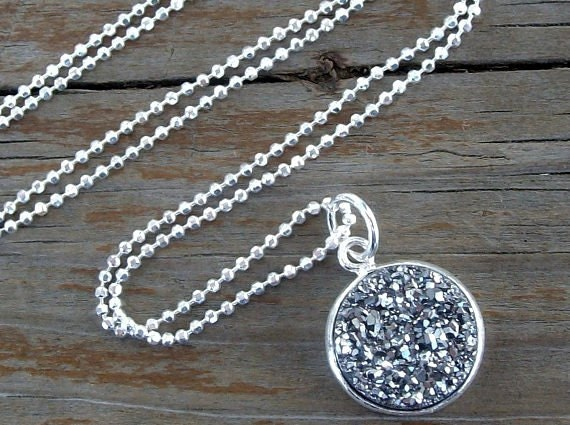 Sterling Silver Druzy Necklace