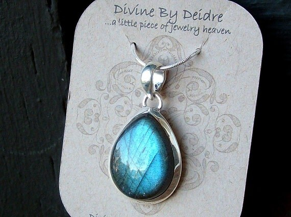Turquoise Storm...Genuine Labradorite on Sterling Silver Snake Chain