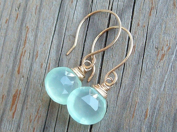 Mojito Drop Earrings...Chalcedony and Gold