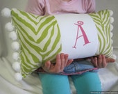 Personalized Lime Green Zebra Striped Pillow