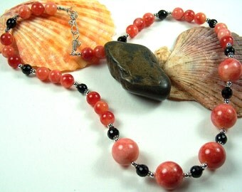 SALE Red Calcite and Onyx Necklace with Romantic Handcrafted Sterling Silver Hook & Eye Clasp - 2067ND