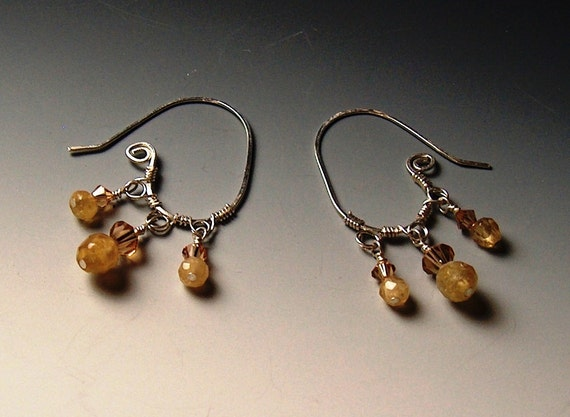 Calcite, Sterling Silver,  and Light Colorado Topaz Swarovski Crystal Hand Forged Earrings - 2101ED