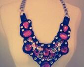 Dazzling Rainbow Jewel Bib Necklace in eco Felt
