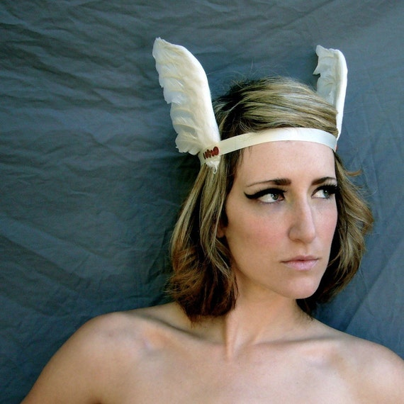 Greek Goddess Feathered Headband White Gold Ivory Made to order