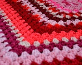 Vintage Crocheted Afghan in Pink Red and Cream