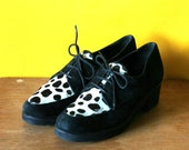 Vintage Pony Hair Brogues, black and white, size 7