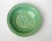 Bowl Mint Green Hand Made with a Chickadee