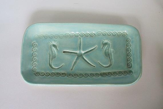Turquoise Starfish and Seahorse Dish
