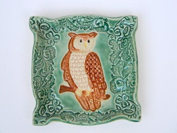 Wise Owl Porcelain Handmade Trinket Dish
