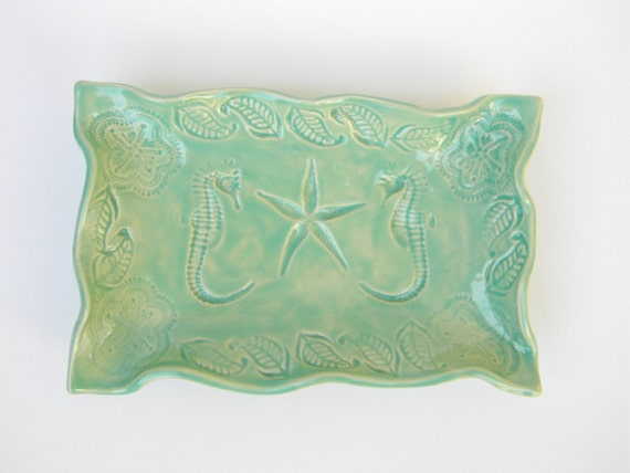 Handmade Seahorse Dish in Mint