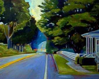 Down the Road - Shaker Village - New Gloucester, Maine - Original Acrylic Painting 12 x 18