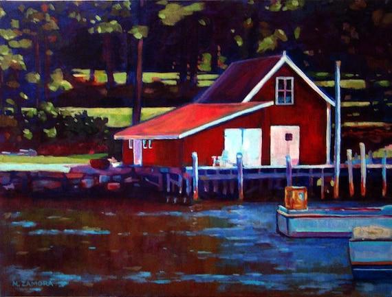 New Harbor Dock - Maine - Original Acrylic Painting 12x16 - On Birch Panel