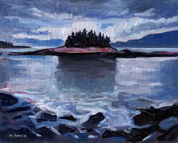 Purple Dusk - Winter Harbor, Maine - Original Painting - Oil on Linen Panel - 8 x 10