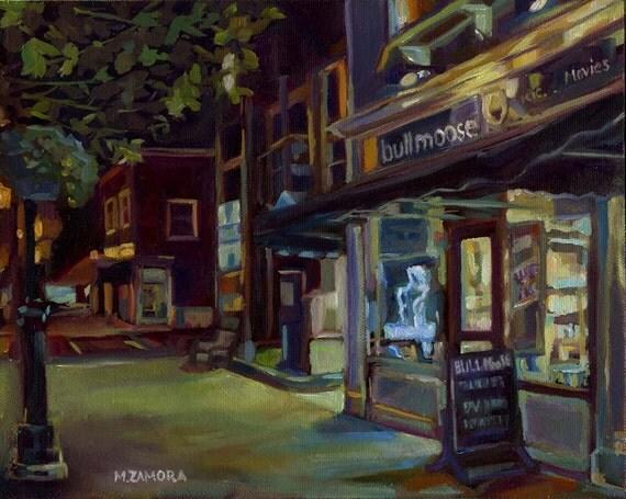Bull Moose Music - Brunswick, Maine - Original Painting - Oil On Panel - 8 x 10