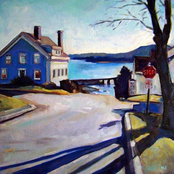 Blue Corner - Wiscassett, Maine, Original Oil on Canvas Panel - 12 x 12