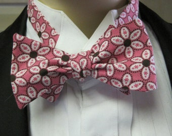 Pink Flower Men's Bow Tie