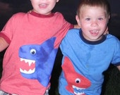 Boys or Girls Shark Shirt with Googly Eye