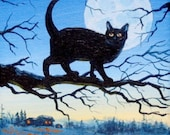 Black Cat Halloween 5 X 7 ORIGINAL Thomas Justin Hoy