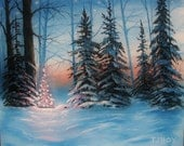 Little Forest Christmas Tree 8 X 10 ORIGINAL Thomas Justin Hoy