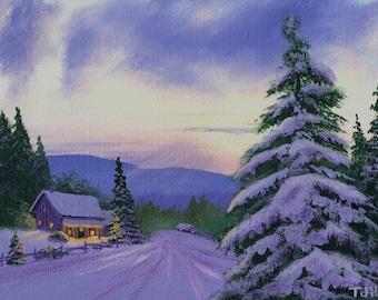 Mountain Winter ORIGINAL 6 x 8 Thomas Justin Hoy