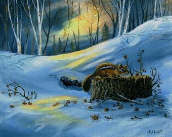 Chipmunk in the Evening Woods ORIGINAL 8 x 10 Thomas Justin Hoy
