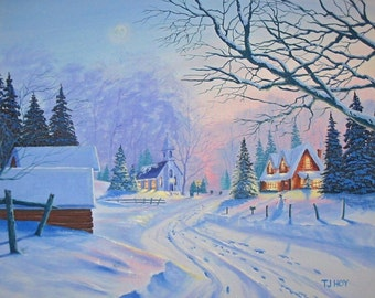Winter Village Country Church - original, prints, framed prints and greeting cards