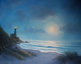 Moonlit Lighthouse 12 x 14 ORIGINAL Thomas Justin Hoy