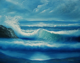 "Blue Waves - ORIGINAL 12""  X 16 "" Painting by Thomas Justin Hoy"