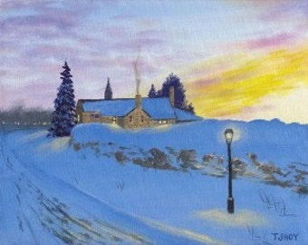 Stone house Winter Sunset 8 X 10 ORIGINAL Thomas Justin Hoy