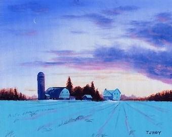 Sunset Barn and Silo 8 x 10 ORIGINAL Thomas Justin Hoy